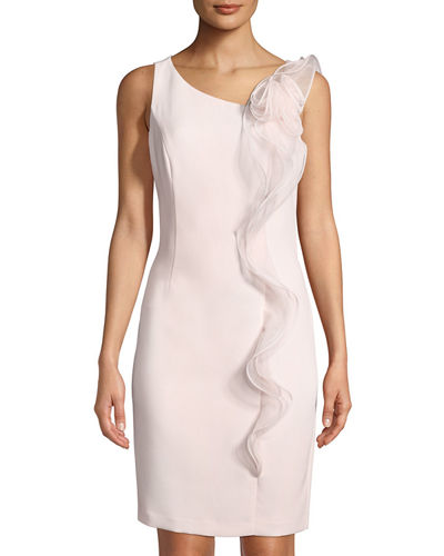 Karl Lagerfeld Paris Ruffle-Front Cocktail Sheath Dress