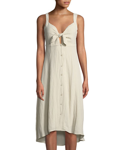 58f205c56676 ASTR Tie-Front Linen Midi Dress