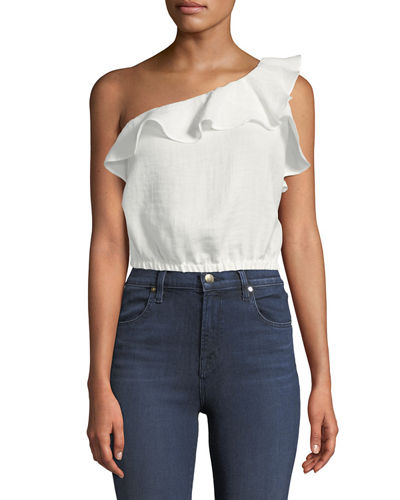 One-Shoulder Ruffle Crop Blouse