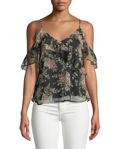 Cold-Shoulder Floral Ruffle Blouse