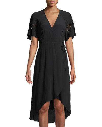 Lace-Shoulder Wrap Dress
