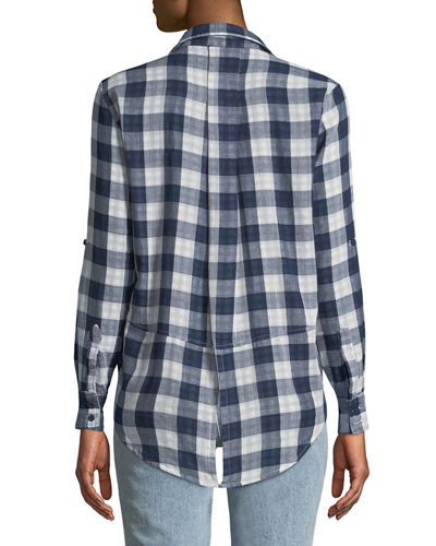 Riley Button-Front Checkered Blouse