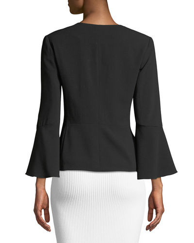 Open-Front Flare-Sleeve Jacket