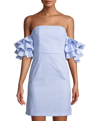 LUXE BY STYLEKEEPERS The Malibu Ruffle-Tiered Off-The-Shoulder Dress in Blue