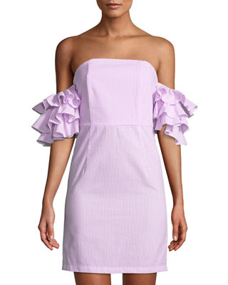 LUXE BY STYLEKEEPERS The Malibu Ruffle-Tiered Off-The-Shoulder Dress in Pink