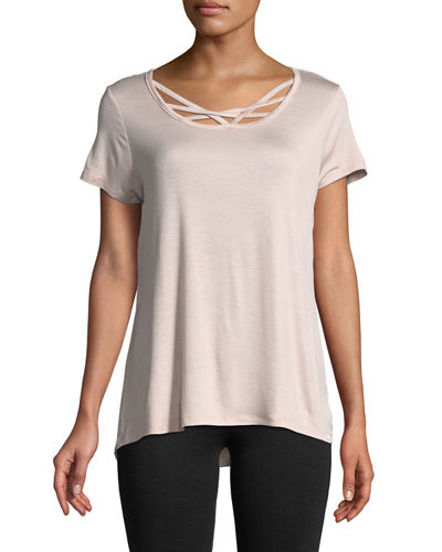 Strappy-Front Short-Sleeve Tee