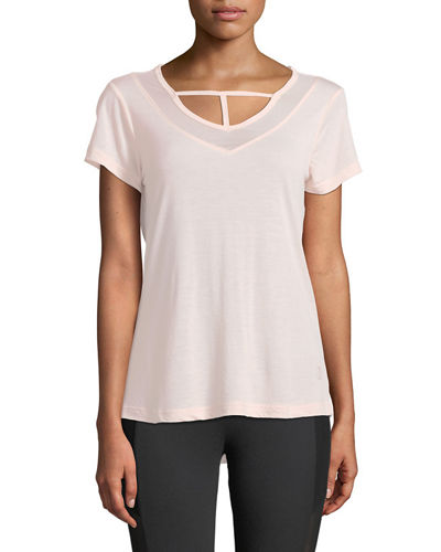 Abby Mesh-Neck Short-Sleeve Tee