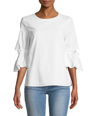CECE BY CYNTHIA STEFFE Cutout Flare-Sleeve Blouse in White