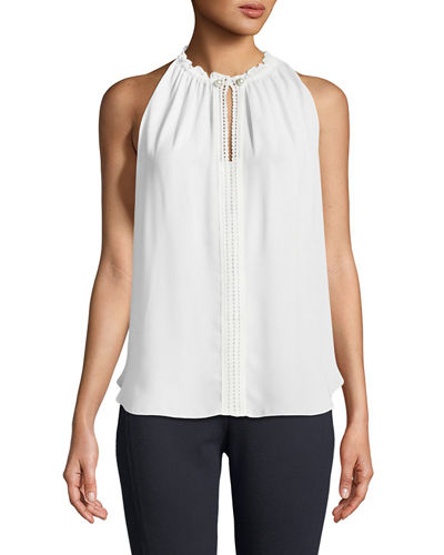 Lynna High-Neck Sleeveless Blouse