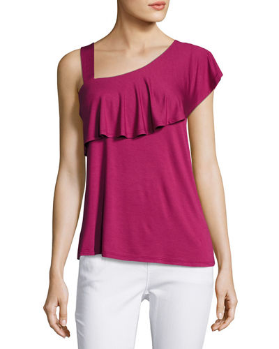 Ruffled Asymmetric-Neck Top