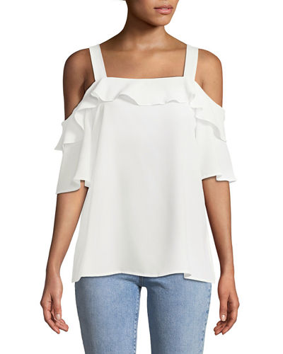 CeCe by Cynthia Steffe Cold-Shoulder Crepe Ruffle dBlouse