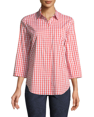 3/4-Sleeve Button-Front Gingham Top, Yellow