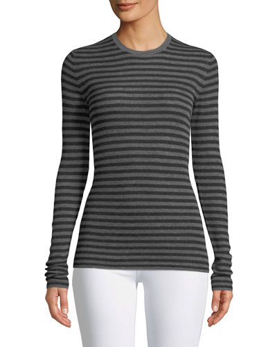 Cashmere Striped Ribbed Long-Sleeve Tee