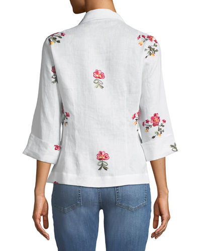 Embroidered Tie-Front Linen Blouse