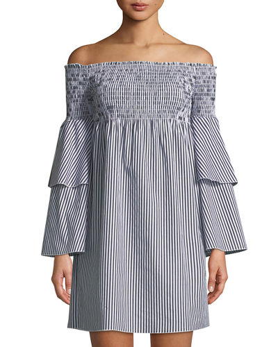 Striped Off-The-Shoulder Bell-Sleeve Dress