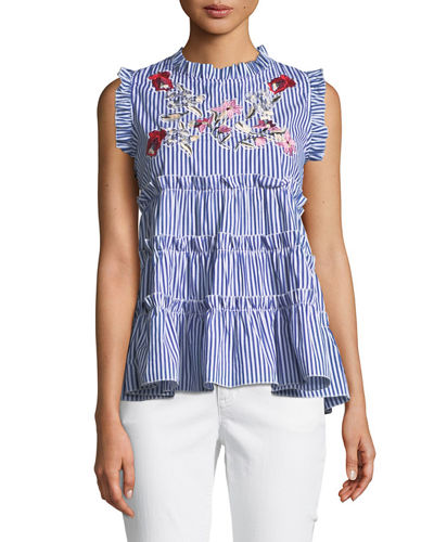 Sleeveless Embroidered Ruffle-Tiered Striped Blouse