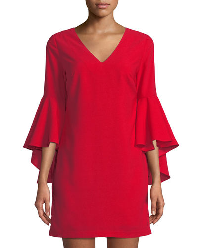 Cascading Bell-Sleeve Shift Dress