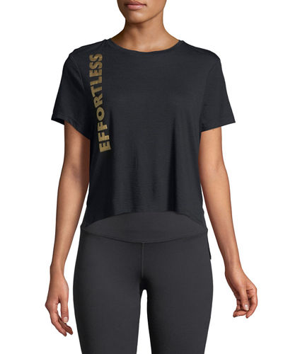 Cropped Saying Golden-Foil Graphic Tee