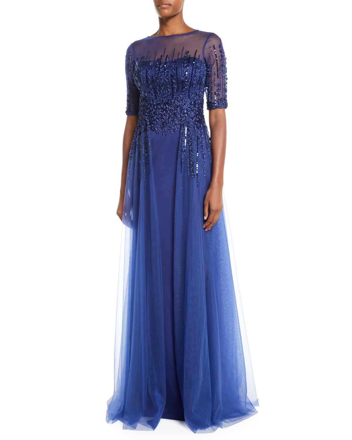 Rickie Freeman For Teri Jon Tops EMBELLISHED SATIN ILLUSION TRUMPET GOWN
