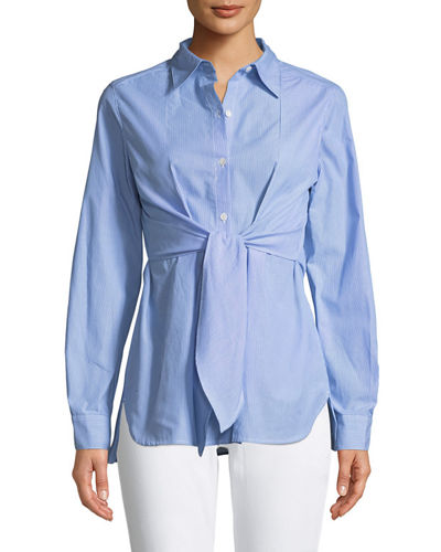 Tie-Front Button-Front Blouse