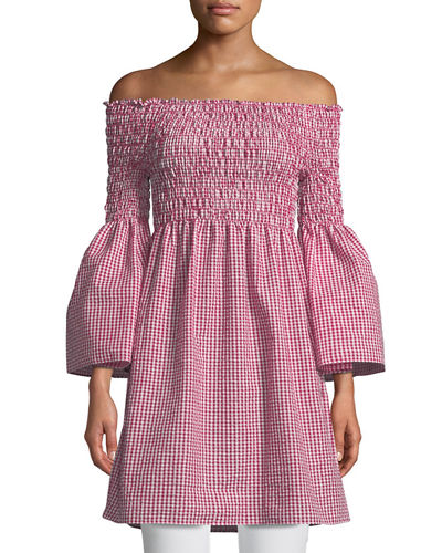 Off-The-Shoulder Bell-Sleeve Gingham Dress