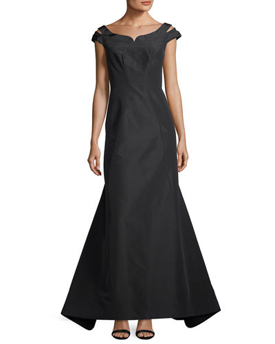 Silk Faille Cap-Sleeve Evening Gown