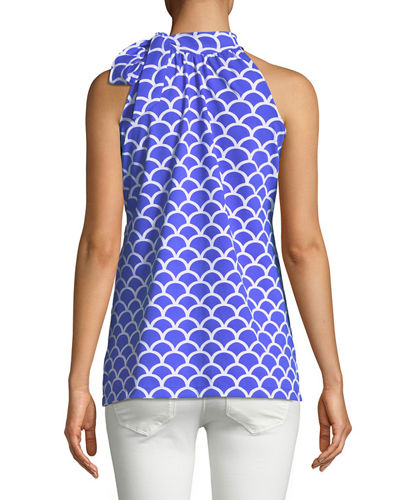 Big Sur Trellis-Print Tie-Neck Tunic