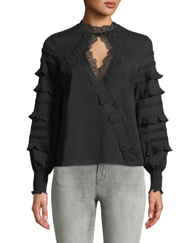 Lace-Trimmed Choker-Neck Blouse