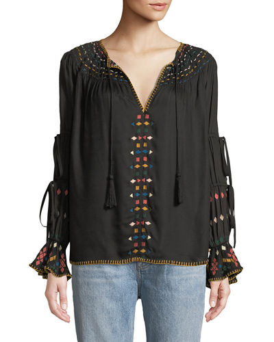 Embroidered Ladder-Sleeve Blouse