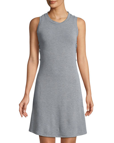Neiman Marcus Lace-Up Side A-line Dress