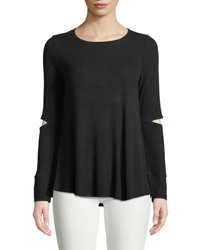 Long-Sleeve Elbow-Cutout Tee
