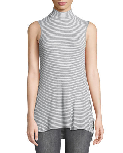 Mock-Neck Lace-Through Striped Tank