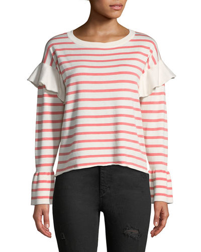 Flounce-Shoulder Striped Sweater