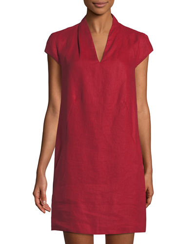 Linen Cap-Sleeve Sheath Dress