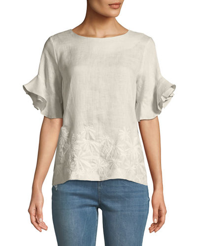 Neiman Marcus Embroidered-Linen Flutter-Sleeve Blouse
