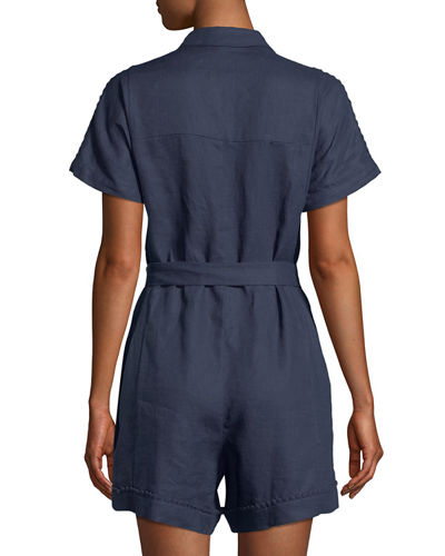 Linen Button-Front Romper