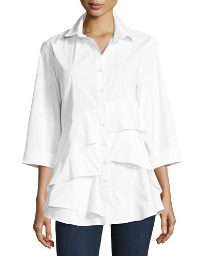 Finley Jenna Tiered-Ruffle Long Blouse, Plus Size