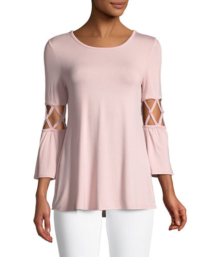 Cage-Sleeve Pearl-Accent Jersey Tunic