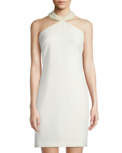 Pearlescent Halter-Neck Dress