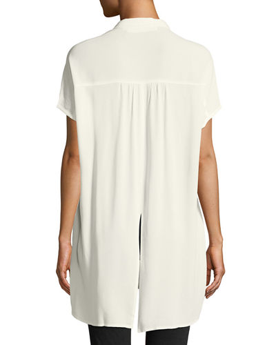 Paulina Tie-Front High-Low Blouse