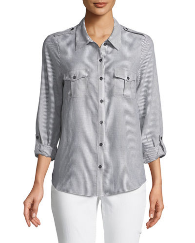 Joie Dumas Pinstriped Button-Front Shirt