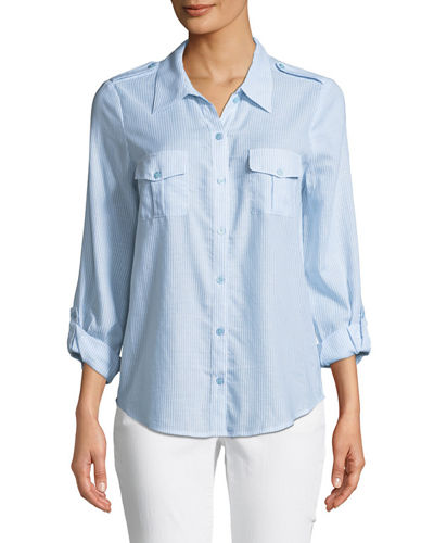 Dumas Pinstriped Button-Front Shirt