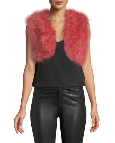 Marabou-Feather Cropped Vest