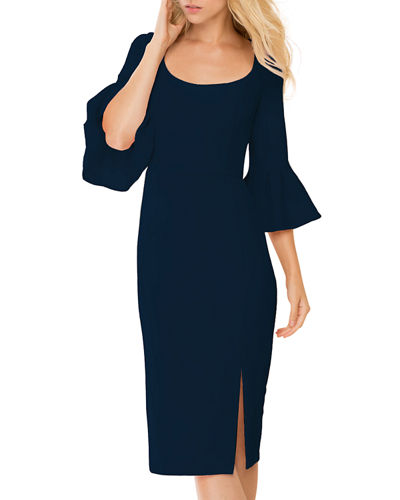 3/4 Bell-Sleeve Midi Cocktail Dress