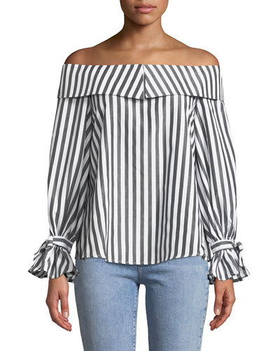 Turn Heads Striped Off-the-Shoulder Top