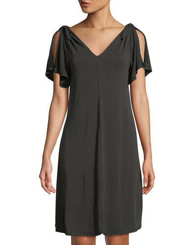 Neiman Marcus Flutter-Sleeve Swing Dress