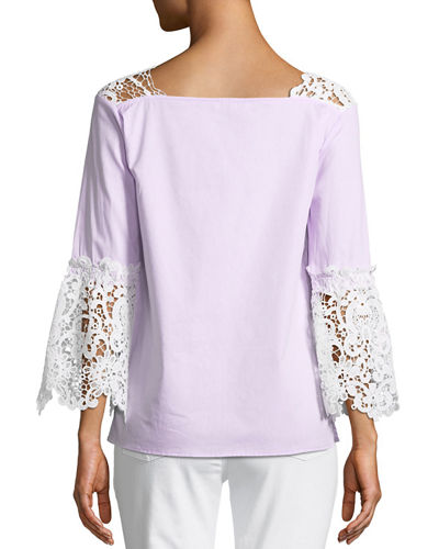 Lace-Trim  Cotton Blouse with Bell Sleeves