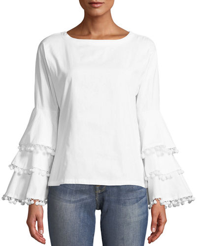 Pompom Blouse with Bell Sleeves