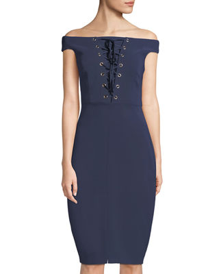 JAX Off-The-Shoulder Lace-Up Dress in Navy