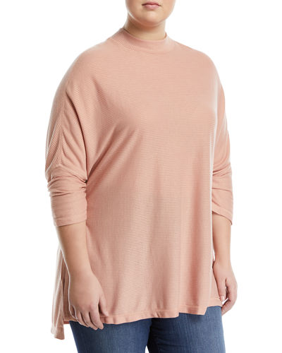 Mock-Neck Ribbed Tunic, Plus Size